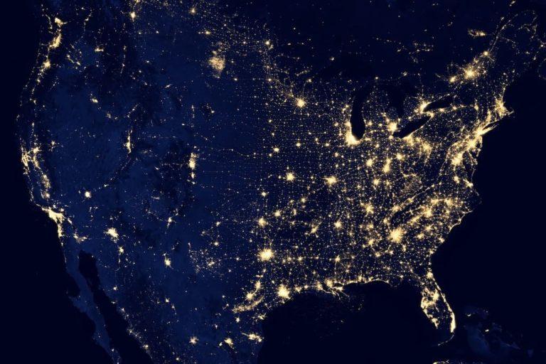 Lichtverschmutzung der USA - NASA Aufnahme